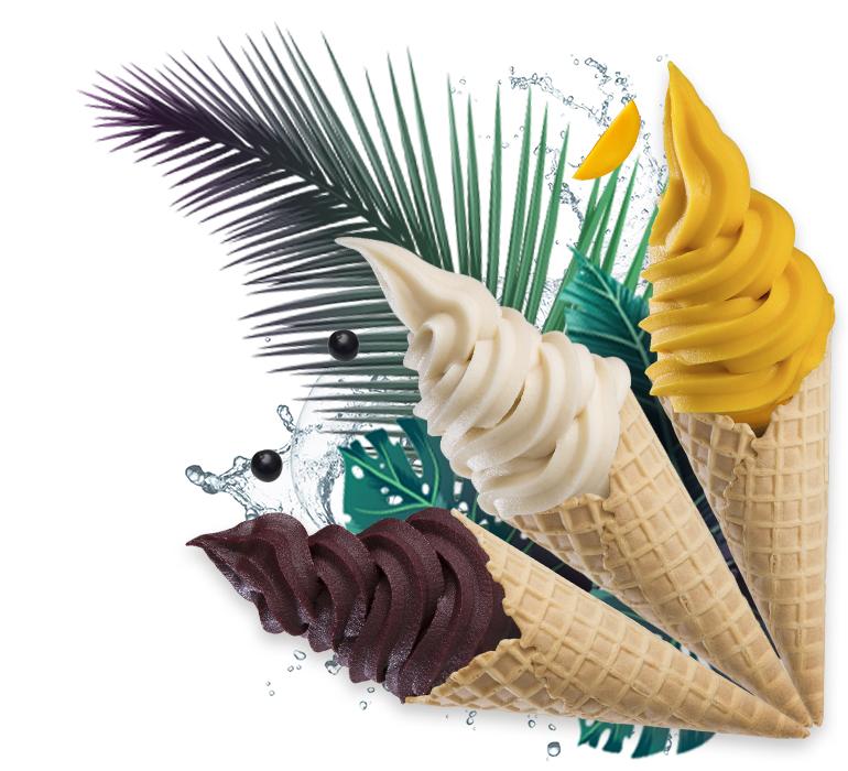 Casquinhas de sorvete feitas com o creme de frutas da Foodbase com os cremes de manga-ubá, açaí e cupuaçu